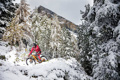 Mountain Bike Mtb In The Snow Poster