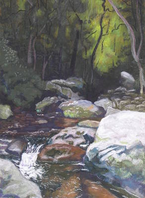 Poster featuring the pastel Mountain Stream At Dusk by Robert Decker