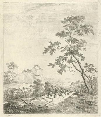 Mountainous Landscape With Shepherd And Shepherdess Poster