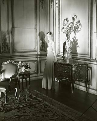 Mrs. Jacques Vanderbilt In An Ornate Room Poster
