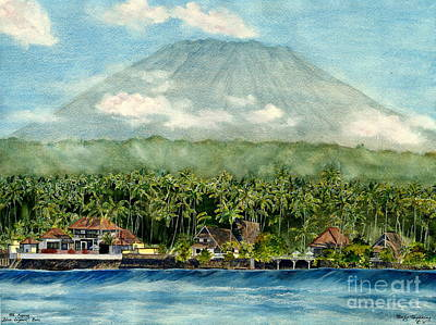 Poster featuring the painting Mt. Agung Bali Indonesia by Melly Terpening