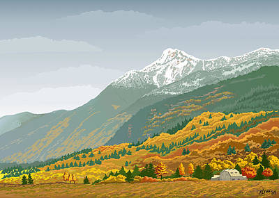 Mt Cheam In Autumn Poster by Artellus Artworks