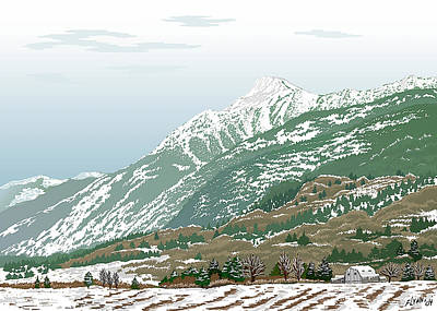 Mt Cheam In Winter Poster by Artellus Artworks