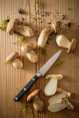 Mushrooms And Knife Poster by Aberration Films Ltd