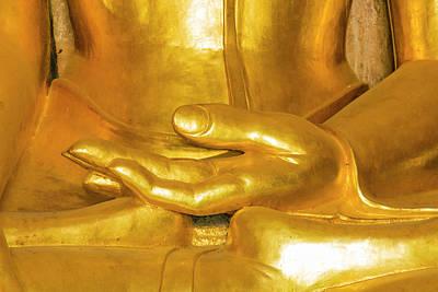Myanmar Bagan Htilominlo Temple Golden Poster by Inger Hogstrom