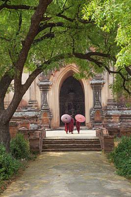 Myanmar, Bagan Novice Monks In Front Poster
