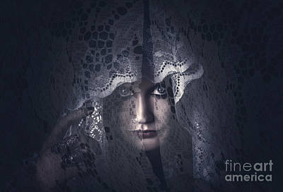 Mysterious Female Mystic Veiled In Lace Secrecy  Poster by Jorgo Photography - Wall Art Gallery