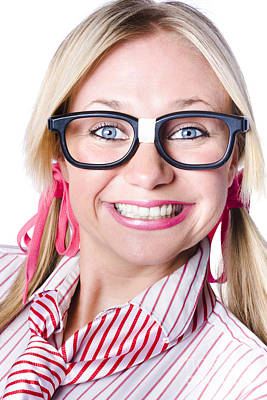 Nerdy Businesswoman With A Cheeky Grin Poster by Jorgo Photography - Wall Art Gallery