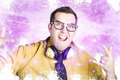 Nerdy Nightclub Dj Spinning A Music Mix Poster by Jorgo Photography - Wall Art Gallery