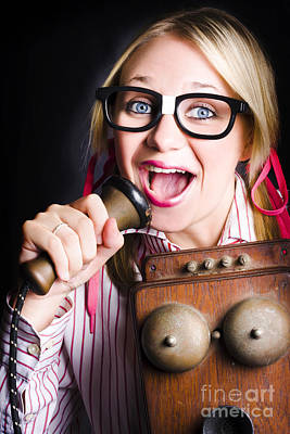 Nerdy Pr Business Person Making Announcement Poster by Jorgo Photography - Wall Art Gallery