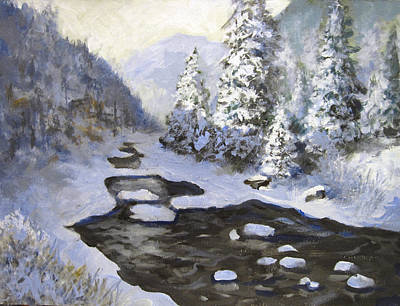 Poster featuring the painting New Snow by Carol Hart