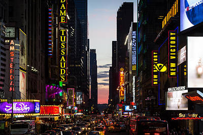 New York City At Night Poster by Alexander Mendoza