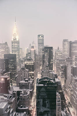New York City - Snow Covered Skyline Poster by Vivienne Gucwa