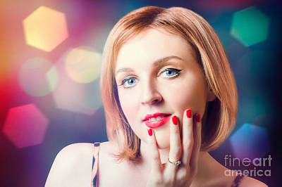 Night Fashion Photo. Beauty Model In Diamond Ring Poster