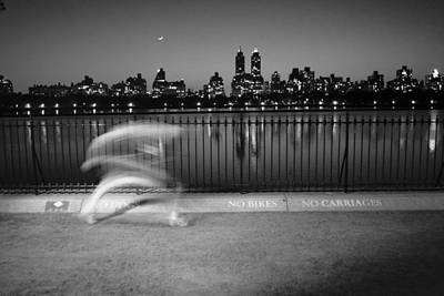 Night Jogger Central Park Poster by Dave Beckerman