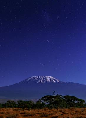 Night Sky Over Mount Kilimanjaro Poster by Babak Tafreshi