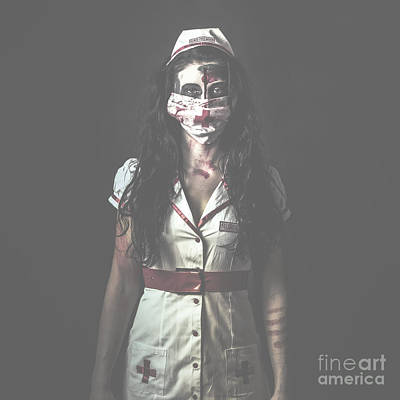 Nightmare Nurse Standing Dead In Haunted Hospital Poster by Jorgo Photography - Wall Art Gallery