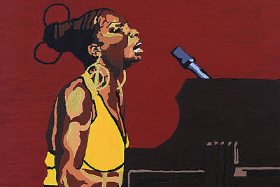 Poster featuring the painting Nina Simone by Rachel Natalie Rawlins