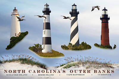 North Carolina's Rt. 12 Lighthouses Poster