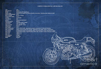 Norton Commando 961 Cafe Racer 2011 Technical Specifications Poster