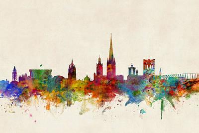 Norwich England Skyline Poster by Michael Tompsett