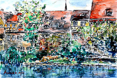 Poster featuring the painting Nuremberg Southern Riverside Of Pegnitz by Alfred Motzer