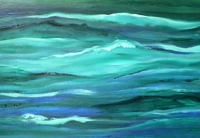 Ocean Swell Abstract Painting By V.kelly Poster