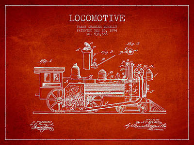 ocomotive Patent drawing from 1894 Poster by Aged Pixel