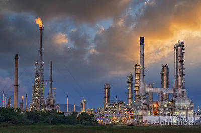 Oil Refinery Along Twilight Sky Poster
