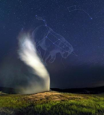Old Faithful Geyser And Ursa Major Stars Poster