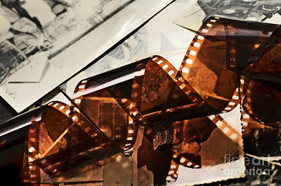 Old Film Strip And Photos Background Poster