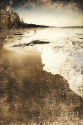 Old Photo Of Couple Walking On Beach In Distance Poster