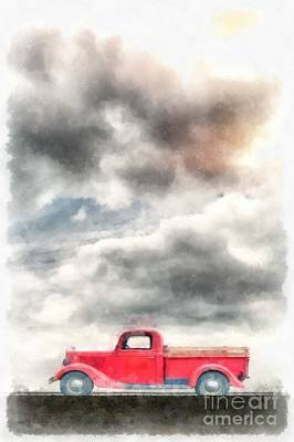 Old Red Ford Pickup Poster by Edward Fielding