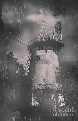 Old Tower Mill Building. Historic Fine Art Photo Poster