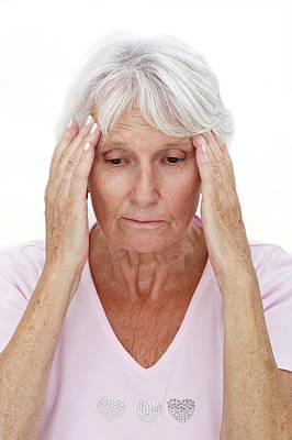 Older Lady With Headache Poster
