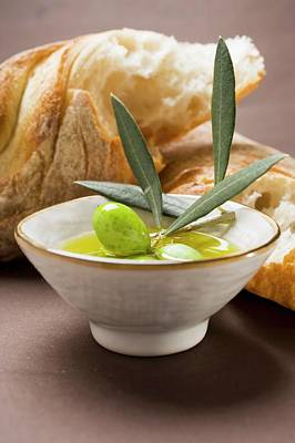 Olive Sprig With Green Olives In Bowl Of Olive Oil, White Bread Poster