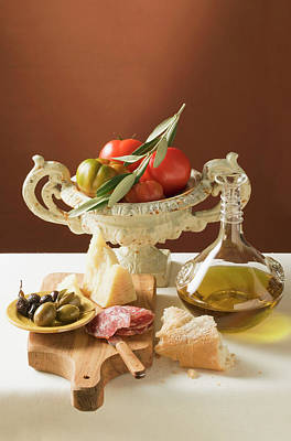 Olives, Sausage, Parmesan, Olive Oil, White Bread And Tomatoes Poster