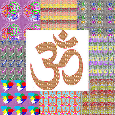 Om Manta Gold N Graphic Art Patchup Background Poster
