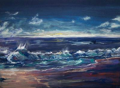 Poster featuring the pastel Open Sea by Peter Suhocke