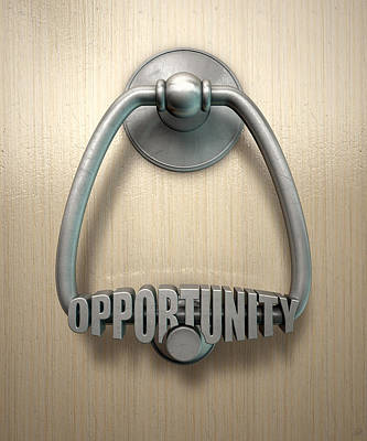 Opportunity Knocks Door Knocker Poster by Allan Swart
