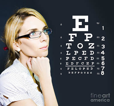 Optician Or Optometrist Wearing Eye Wear Glasses Poster by Jorgo Photography - Wall Art Gallery