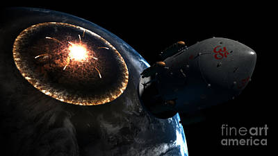 Orion-drive Spacecraft Leaving Earth Poster by Rhys Taylor