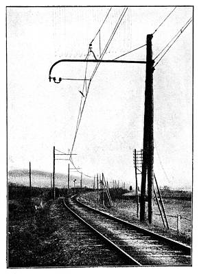 Overhead Train Power Lines Poster