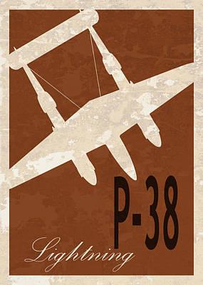 P-38 Lightning Poster by Mark Rogan
