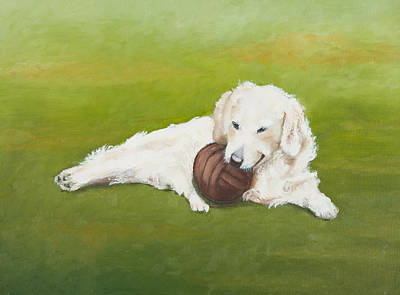 Painting Of A White Dog Poster