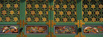 Paintings On The Door Of A Buddhist Poster by Panoramic Images