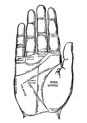 Palmistry Chart, 1885 Poster