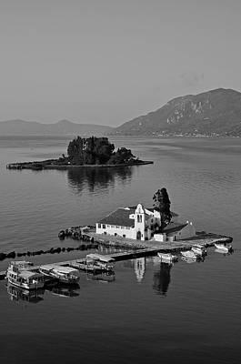 Panagia Vlachernon Chapel And Pontikonisi Islet Poster by George Atsametakis