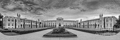 Panorama Of Rice University Academic Quad Black And White - Houston Texas Poster by Silvio Ligutti