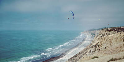 Paragliders Over The Coast, La Jolla Poster by Panoramic Images